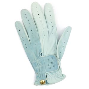 HERMES Ladies Leather Gloves Golf Made in France Left Handed Lamb 7.5 Turquoise