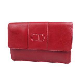 クリスチャン・ディオール(Christian Dior) クリスチャンディオール Christian Dior フランス製 レディース クラッチバッグ セカンドバッグ レザー バッグ ボルドー ヴィンテージ ディオール