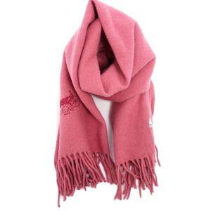 Celine CELINE Women's Unisex Shawl Wrap Fringe 100% Wool Embroidered Carriage Logo 65 cm x 120 Pink