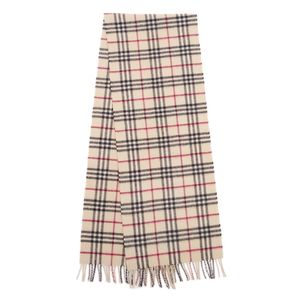 Burberry BURBERRY Scottish Check Cashmere Wool Scarf Women's Mens Light Beige