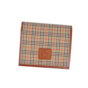 Burberry London BURBERRY LONDON Check canvas leather clamshell wallet ladies' mens brown
