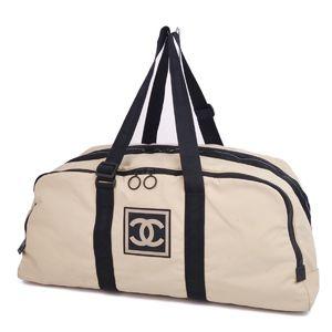 Chanel CHANEL Sports Line Coco Mark Nylon Boston Bag Beige Black Made in Italy