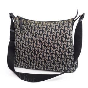クリスチャン・ディオール(Christian Dior) クリスチャンディオール Christian Dior イタリア製 レディース トロッター ショルダーバッグ キャンバス レザー ブラック ヴィンテージ ディオール バッグ 鞄