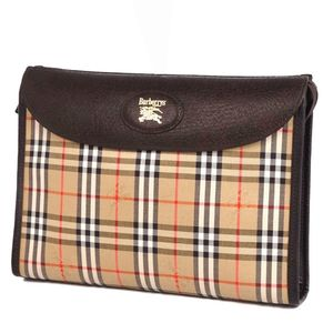 Burberry Burberrys Horse Ferry Check Clutch Bag Beige Vintage Mens