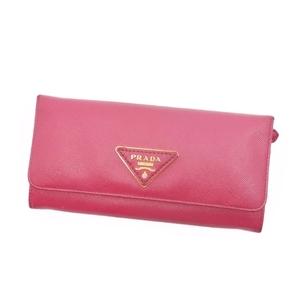 プラダ(Prada) プラダ PRADA サフィアーノ ペオニア 三角ロゴ 二つ折り 長財布 ロングウォレット ピンク