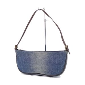 FENDI Denim Semi-shoulder Bag Handbags Women Made in Italy Indigo Blue Brown
