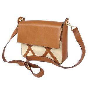 Celine CELINE Women's Circle Logo Diagonal Leather Shoulder Bag Made in Italy Metal Bracket Brown Beige Genuine 鞄 Vintage