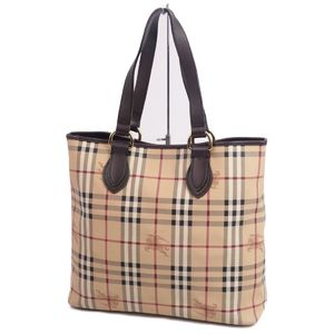 Burberry BURBERRY Horse Ferry Check Tote Bag Made in Italy Beige PVC Leather Ladies Men's