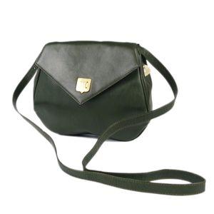 Celine CELINE Macadam C Bracket Made in Italy Women's Diagonal Leather Shoulder Bag Green Genuine Agate Vintage
