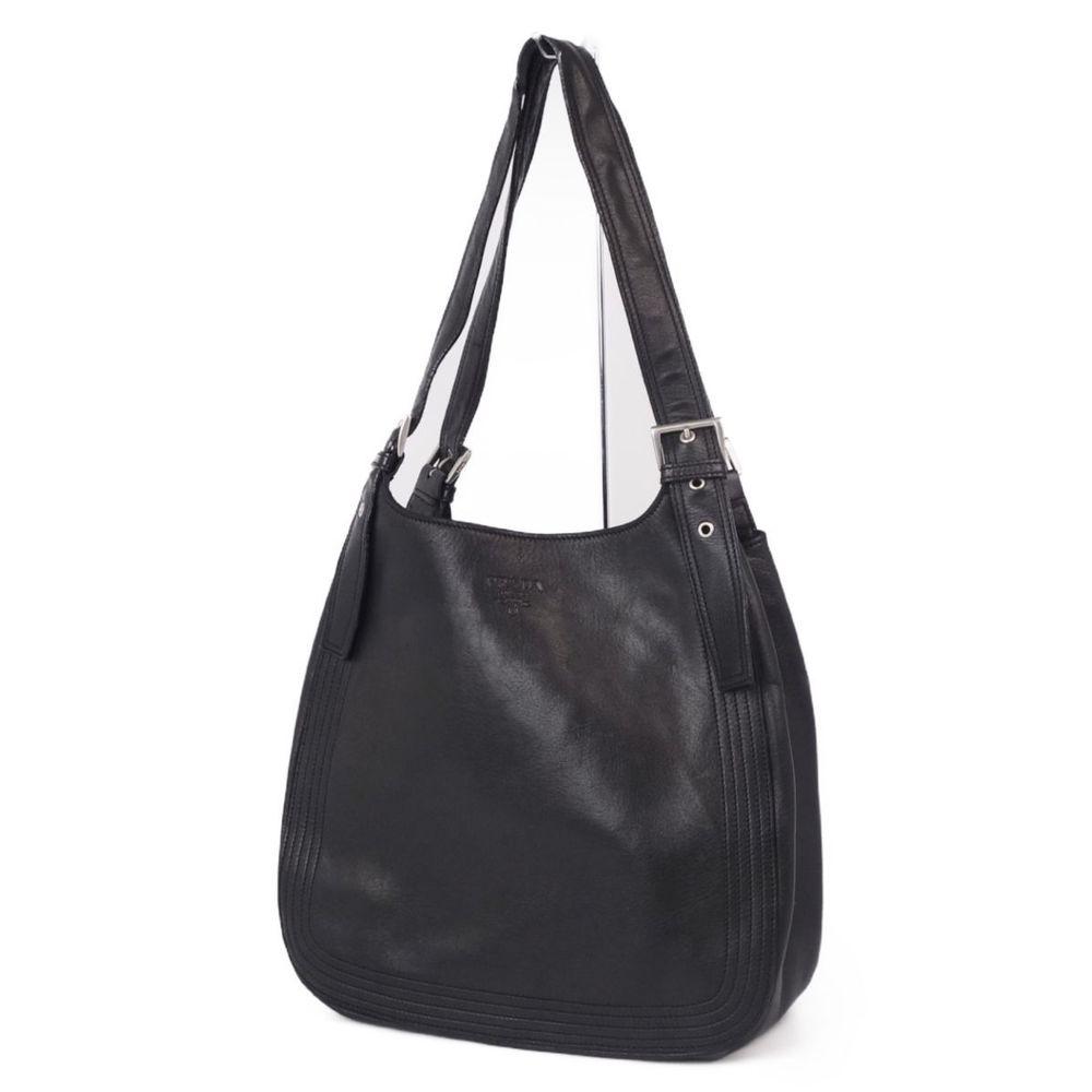 プラダ(Prada) プラダ PRADA ナッパレザー ハンドバッグ セミショルダーバッグ レディース  ブラック 黒 カバン バッグ