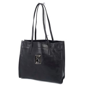 FENDI FENDI FF logo Made in Italy Women's Leather Tote Semi-shoulder bag Black Vintage
