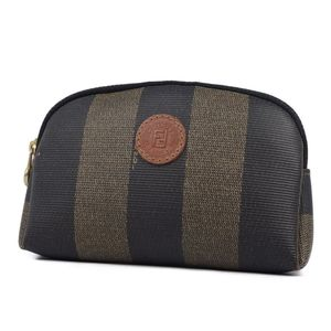 FENDI FENDI pecan made in Italy PVC round zipper mini pouch coin purse unisex brown black ladies accessory vintage stripe
