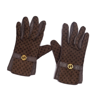 Old Gucci GUCCI Italian Ladies Interlocking GG Glove Gloves 7 Leather Brown