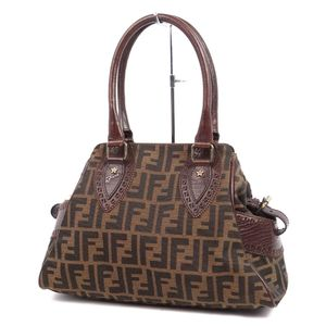 FENDI FENDI Zucca Pattern Canvas Leather Handbag Tote Bag Brown Ladies Made in Italy