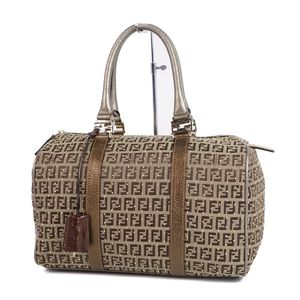 Fendi FENDI Zuccino Studs Mini Boston Bag Handbag Brown Champagne color Ladies bag made in Italy