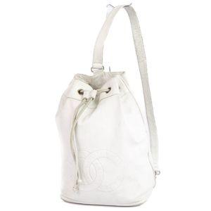 シャネル(Chanel) シャネル CHANEL イタリア製 ココマーク 巾着型 ワンショルダーバッグ ホワイト 白 レディース バッグ セミショルダーバッグ ヴィンテージ