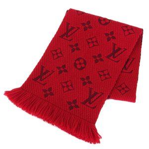 Louis Vuitton LOUIS VUITTON Monogram Muffler Silk Blend Red M72432