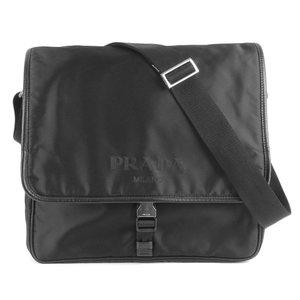 Prada PRADA Current MIRANO tag V166 logo flap Taste nylon shoulder bag men's black