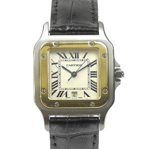 Cartier Cartos Santos Galve Date LM ivory Genuine D Buckle CalQZ 687 Quartz Men's Watch