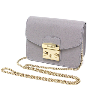 Furura FURLA METROPOLIS Metropolis Mini Crossbody Leather Light Gray / Gold Hardware Chain Shoulder Bag Clutch Unused