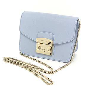 Furura FURLA METROPOLIS Metropolis Mini Crossbody Leather Light Blue Chain Shoulder Bag Clutch Unused