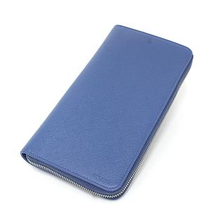 Prada PRADA Safiano Leather Document Holder SAFFIANO COBALTO 2ML220 Cobalt Blue Round Fastener Organizer Travel Case Unused