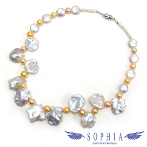 Baroque Pearl Necklace White x Yellow New 2019 017