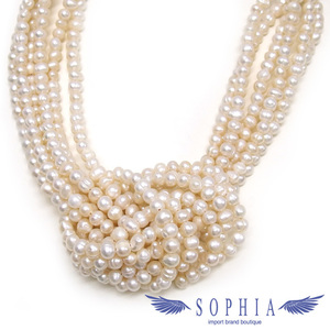 Freshwater pearl oval 6 series necklace white new product 20190517