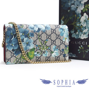Gucci GG Supreme Blooms chain wallet blue series x red 20190703