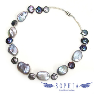 Baroque Pearl Necklace Gray x Blue New 2019 017