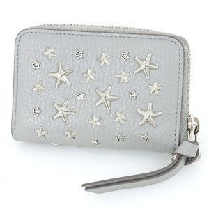 Jimmy Cho JIMMY CHOO Moonstone Card Case Key Leather Gray × Silver Star Studs