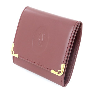 Cartier Must Bordeaux / Gold Leather Coin Case Business Card Holder Women