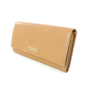 フェンディ(Fendi) フェンディ FENDI ブラウン キャメル レザー 二つ折り 長財布 レディース 【kk】【中古】
