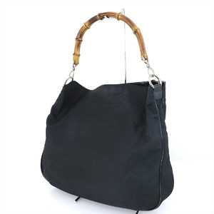 Gucci GUCCI Bamboo Black Nylon Handbag 2way Bag Women