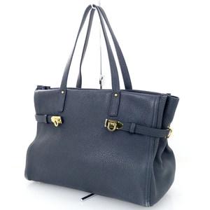 Salvatore Ferragamo Ganchi II Navy Leather Tote Bag Women
