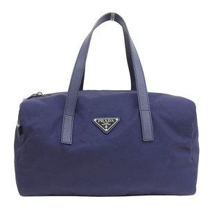 B Rakuichi head office ☆ genuine PRADA Prada nylon 2WAY Boston bag navy leather