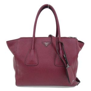 B Buraichi Honten ☆ genuine PRADA Prada leather 2WAY tote bag shoulder ruby BN2764
