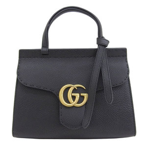B rakushi head office ☆ genuine GUCCI Gucci GG Marmont 2WAY hand bag black 442622 leather