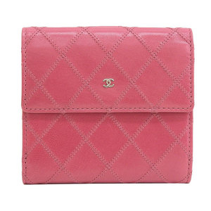 B Buraichi Main Store ☆ Genuine CHANEL Chanel Pico Lole Coco Mark W Hook Compact Purse Pink 13th leather