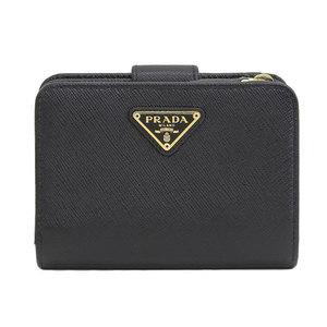 B rakushi head office ☆ genuine PRADA Prada Safiano compact two-fold wallet black 1ML018 leather