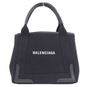 B Rakushi head office ☆ genuine BALENCIA GA Balenciaga navy kabas canvas tote bag black 339933 leather