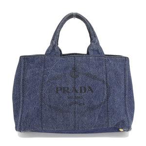 B Rakuichi Main Store ☆ Genuine PRADA Prada Denim Kanapa Tote Bag Blue Gold Bracket Leather