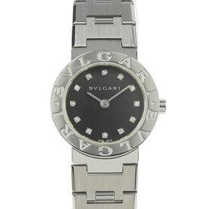 Genuine BVLGARI Bulgari 12P Diamond Quartz Watch Black Dial BB23SS