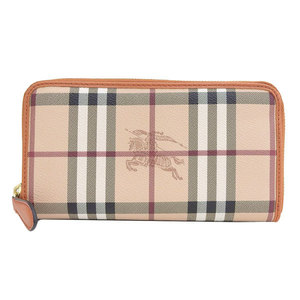 B Buraichi Main Store ☆ Genuine Burberry Check Pattern Round zipper Long wallet Beige leather