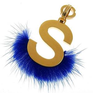 B Rakushi Net Store ☆ Genuine Fendi Initials Bag Charm S Gold Blue