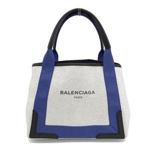 B 楽 本本 ☆ 物 BALENCIA Balenciaga navy cabas tote bag ivory system × blue black leather