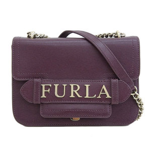 B rakushi head office ☆ genuine FURLA Furla leather chain shoulder bag purple
