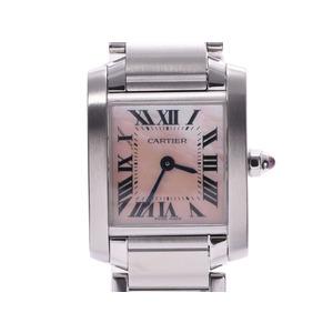 Cartier Tank Française SM Pink Shell Dial Ladies SS Quartz Wrist Watch A rank CARTIER used Ginzo