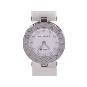 BVLGARI B-ZERO watch 12P diamond white dial BZ22S Ladies SS / leather quartz A rank used Ginzo