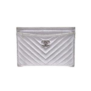 Chanel V-Stitch Card Case Silver Ladies Calf